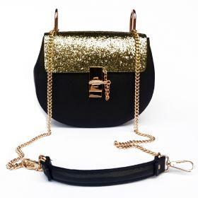 D'avena Store Borsa Glitter In Oro Pelle Nera Cristina E LA3j4qc5R